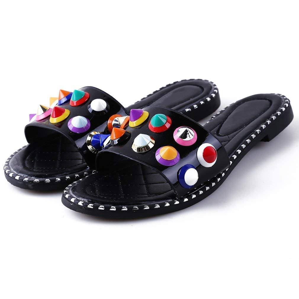 Meolin Women Flat-bottomed Slipper Flat Sandals Roman Shoes Beach Sandals,Black rivets,6.5