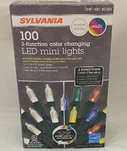 Sylvania Christmas Lights 3-function Color Changing Warm White Multi Color Connectable LED Mini Lights 100 count (3 boxes (300 count))