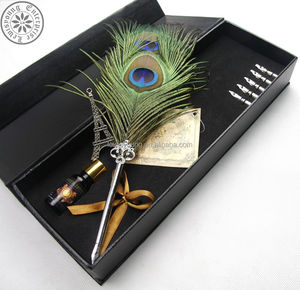 Premium items antique peacock feather bird fountain pen with gift box set