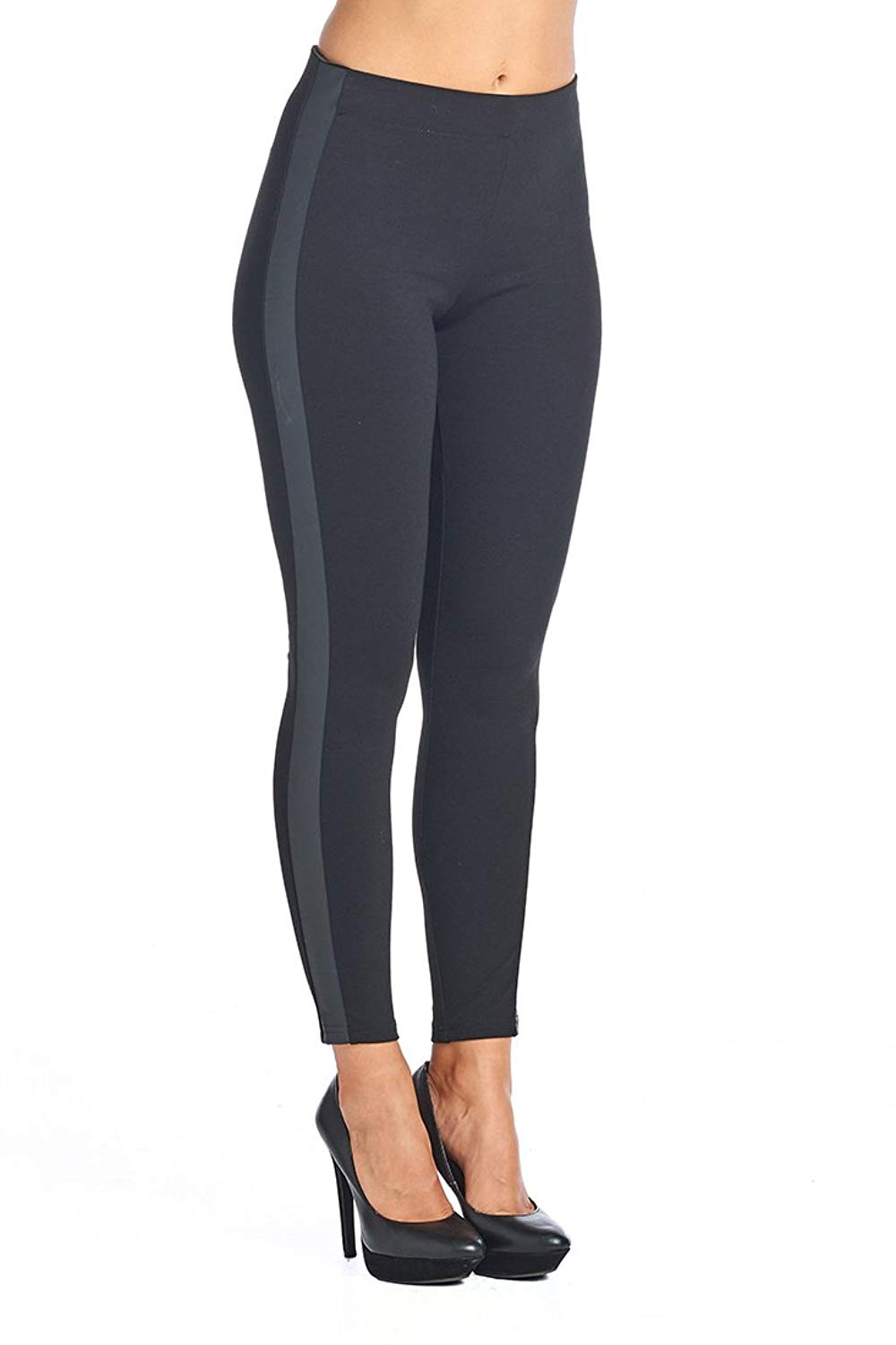 12a9c6c23c477 Get Quotations · PP129 Ci Sono High waist leggings W/PU Leather Stripe on  Sides