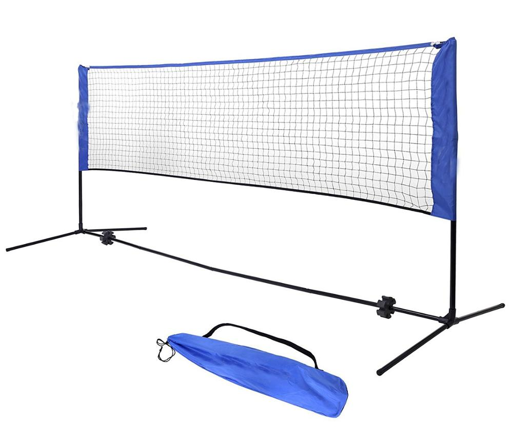 Portable Foldable Polyester Practice Indoor and Outdoor Badminton Net Stand with Poles