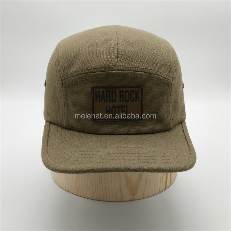 f6ca57fb9c3 Custom Made Meidiney 5 Panel Khaki Leather Patch Deboss Embroidery Canvas  Snapback Caps Hat