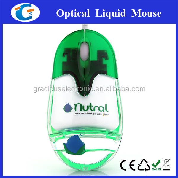 Wired liquid mouse with water and floater inside for promotion
