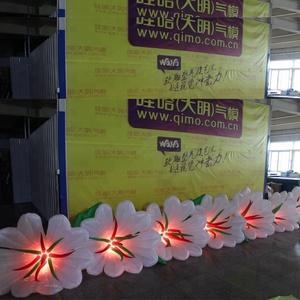 10m Inflatable White Red Rose Flower Chain with LED Lights