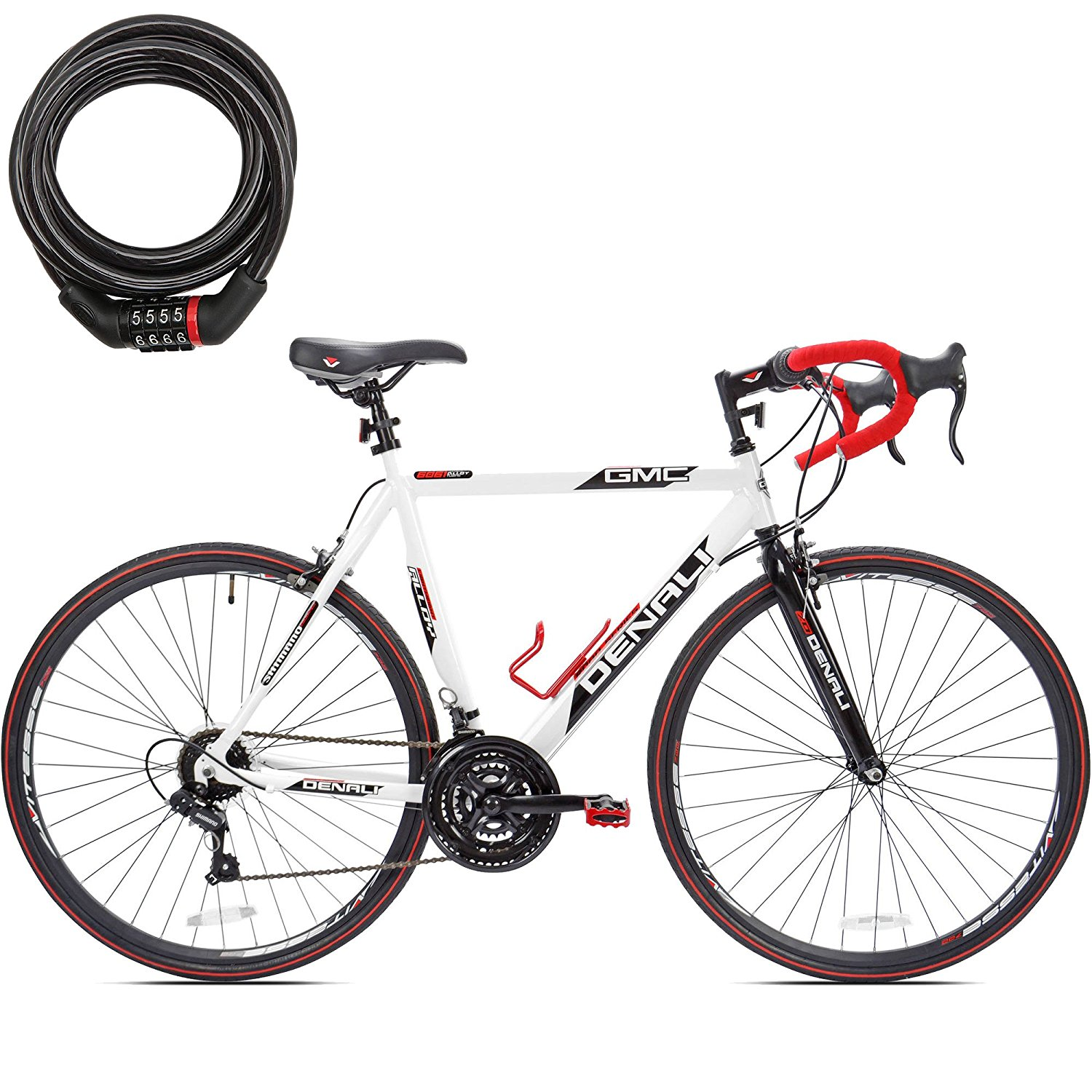 25 Inch GMC 700c Denali Bicycle 21 Speed Shimano Gear Lightweight Aluminum Frame Road Bike for Men with FREE Safety Bike Lock