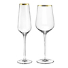 Gold rimmed wedding decorated drinking glass set / wine glass