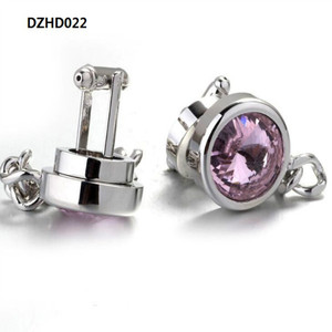 Wholesale large pink crystal cufflinks chain cufflinks for business casual cuffs unisex DZHD022