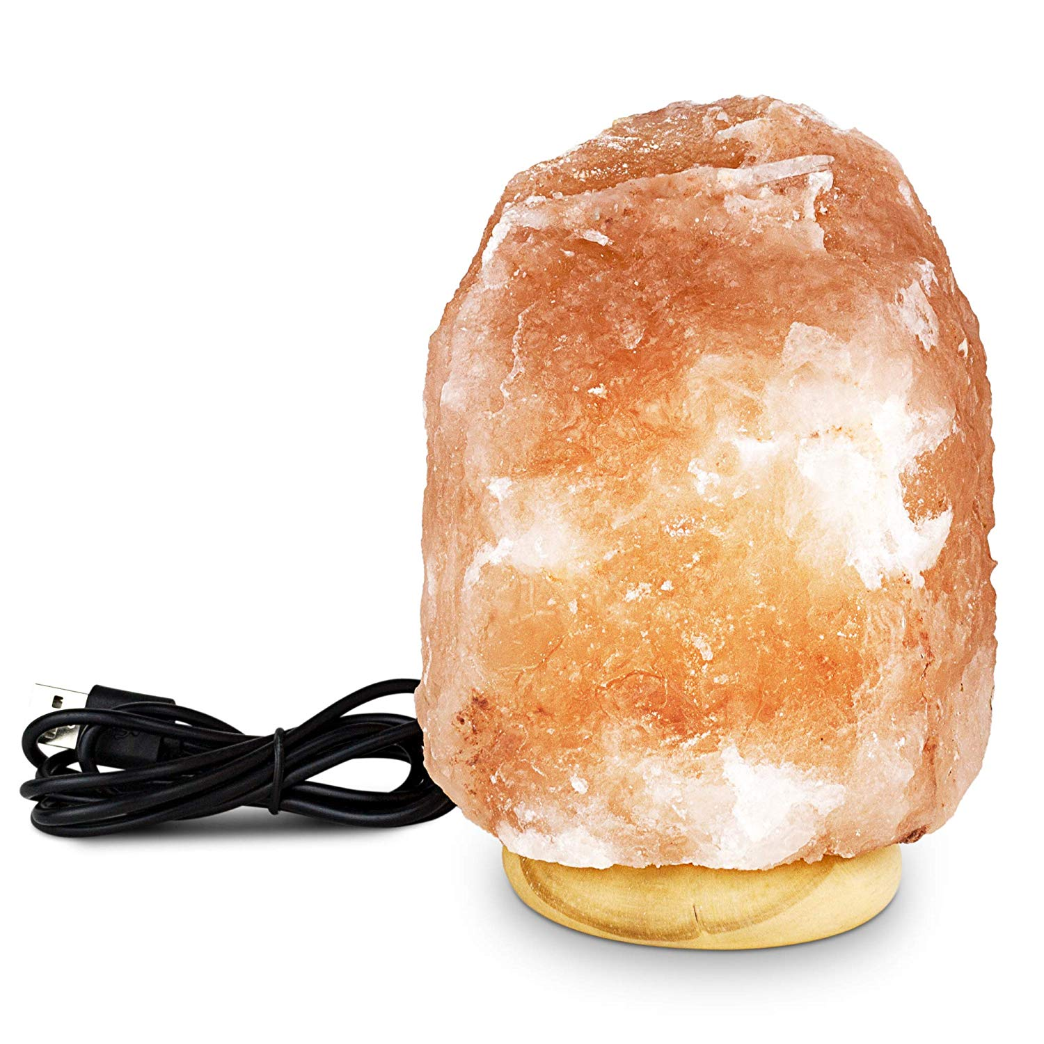 TULA Himalayan Salt Crystal Lamp, Beautiful Color Changing LED, Relaxing and Ambient Décor Accent for the Home/Office, Anti-Microbial, Real Natural Salt, Wood Base with USB