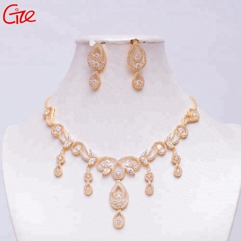 shiny stereo drop queen necklace evening dress accessories wedding jewelry set