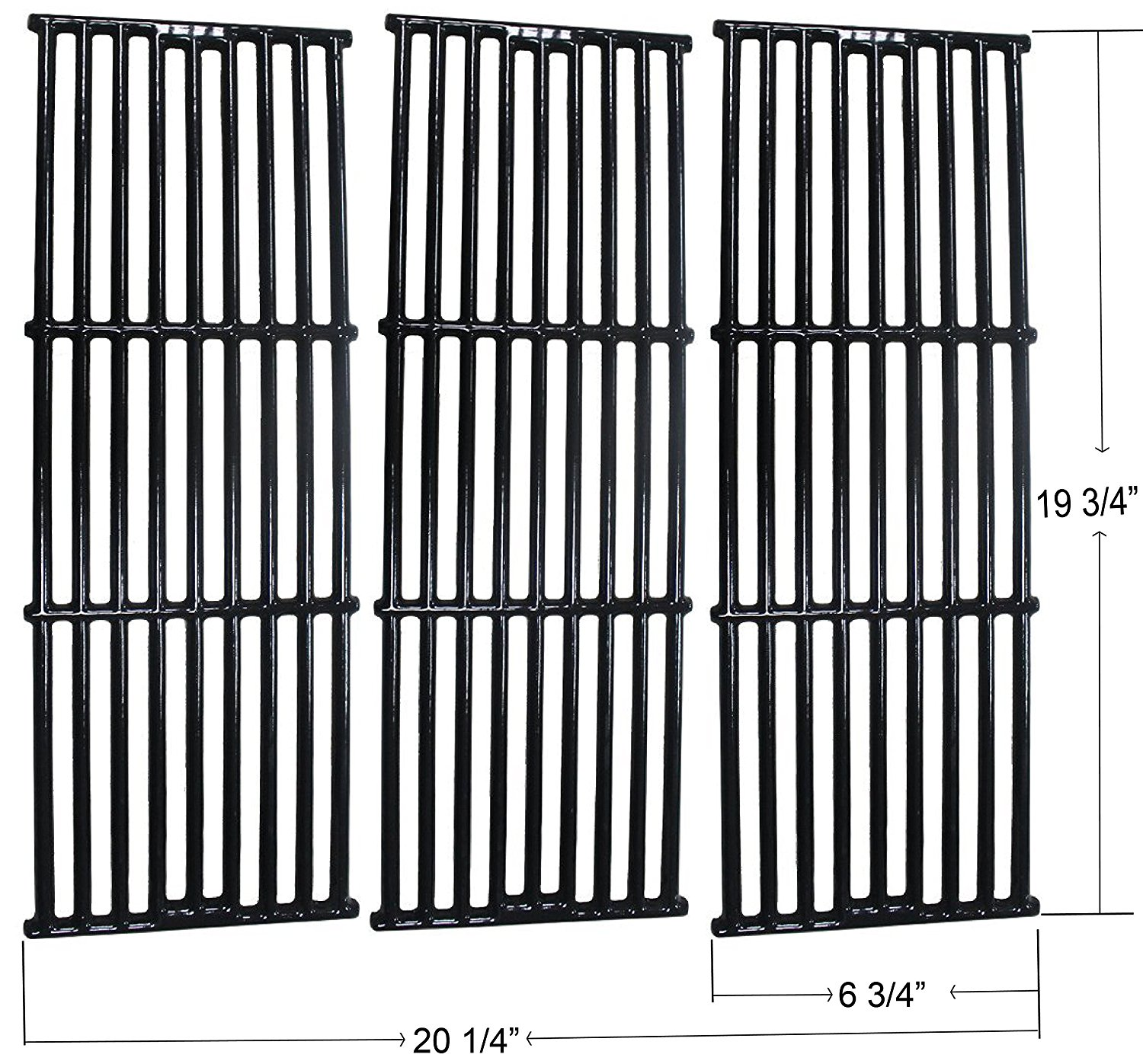"""Porcelain Enamel Cast Iron Cooking Grid For Chargriller 2121, 2123, 2222, 2828, 3001, 3008, 3030, 3725, 4000, 5050, 5252, King Griller Grills (Dims: 19 3/4 X 6 3/4"""" Each; 19 3/4 X 20 1/4"""" For 3 Units)"""