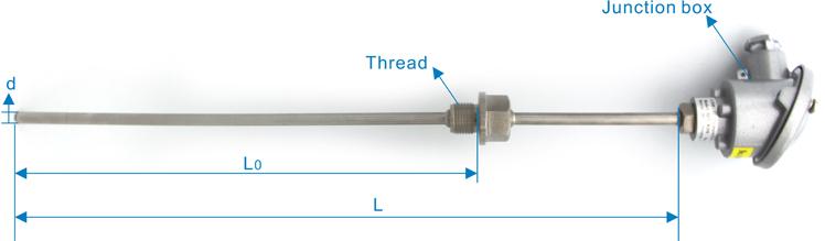 PT100 Thermocpuple صغيرة استشعار درجة الحرارة مع الألومنيوم مربع