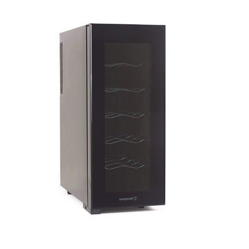 Wine Cooler Dispenser, Low-Noise Compressor, 12-Bottle, Dark Grey, Contemporary Design, Low Power Consumption, 5-Shelf & eBook Home Décor