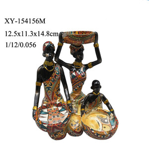 2017 home decorative resin african family,african woman figurine