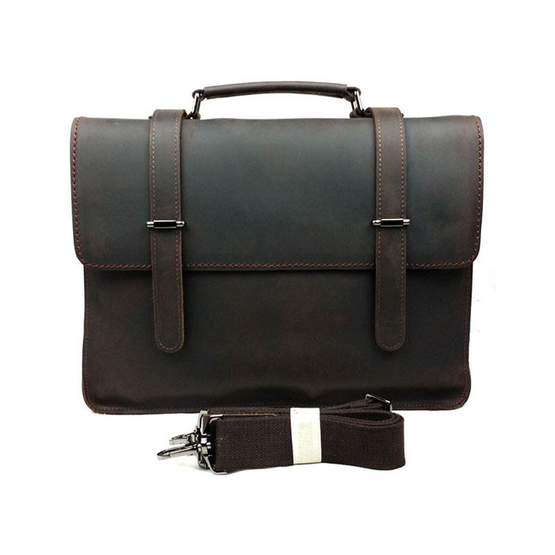 Vintage Retro Casual 100% Crazy Horse Genuine Cowhide Leather Briefca Men Business Handbag Shoulder Messenger Bag For Men's Bags