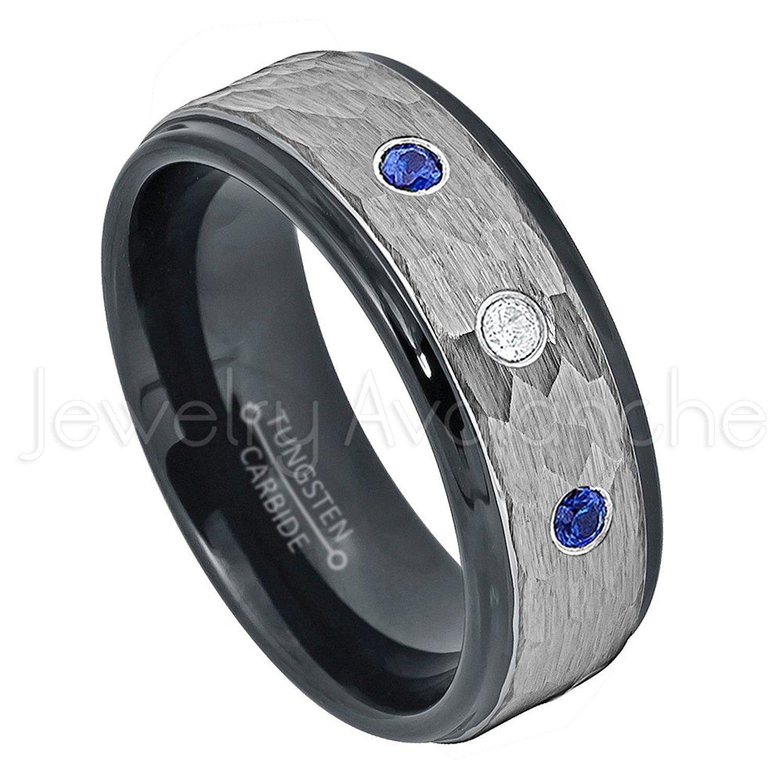 0.21ctw Diamond & Blue Sapphire Tungsten 3-stone Ring - September Birthstone Ring - 8mm Hammered Finish Comfort Fit 2-toneTungsten Carbide Ring Tungsten Tungsten Wedding Band