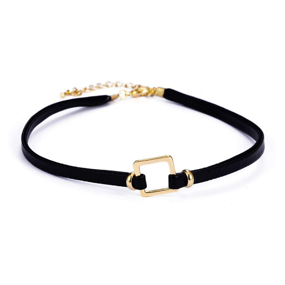Gold Leather Choker Necklace Best Birthday Gift For Girlfriend N1-57955-2320