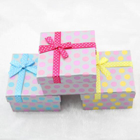 Fashion Jewelry Gift Box Cardboard with Satin Ribbon Square Jewelry Sales Package Accessories Sales Package Accessories