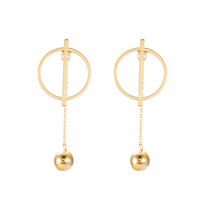 E-671 xuping jewelry stainless steel simple korean style fashion round earring 24k gold plated charm women dangling earring