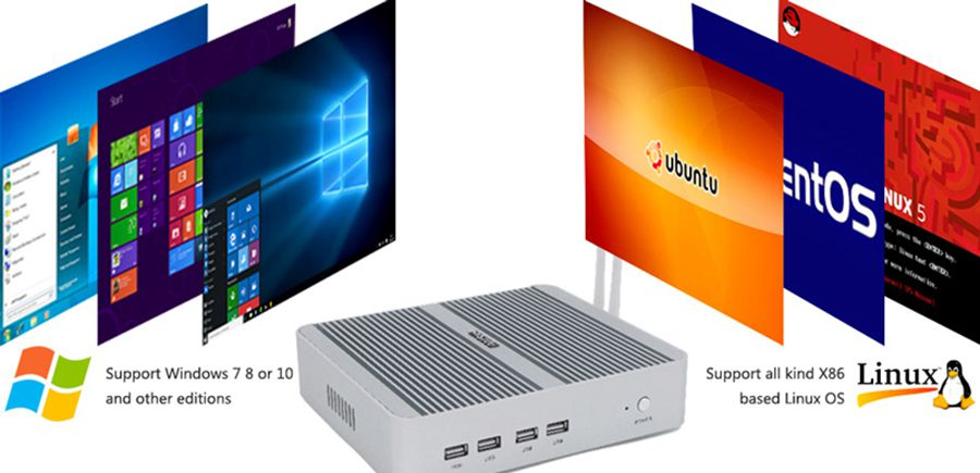 Barebone System Fanless Pc Mini Desktop Computer Core I5 5200 HTPC with HD+VGA dual display 2 DDR3L RAM up to 16GB 1 SSD+1 HDD