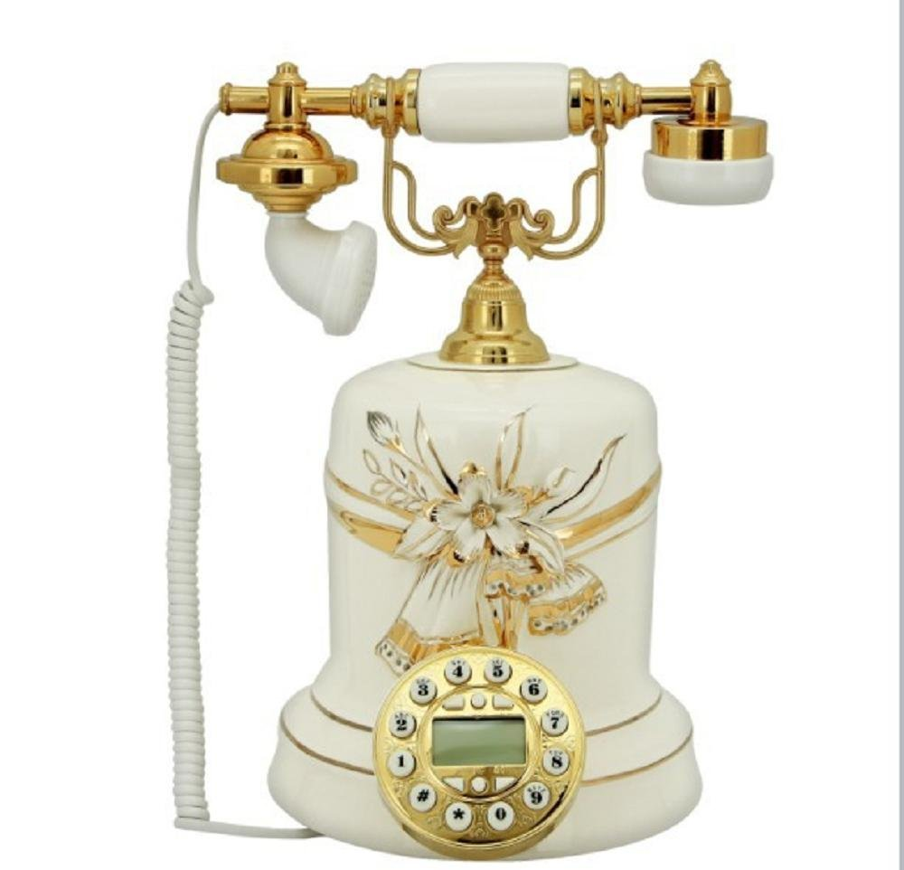 Continental Ceramics Creative Decoration Telephone Retro Vintage Antique Style Push Button Dial Desk Telephone Phone Home Living Room Decor , white