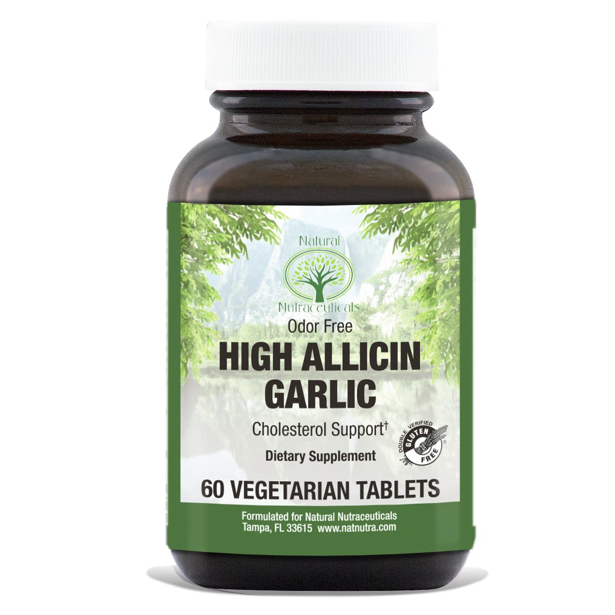 Natural Nutra High Allicin Garlic Supplement, Odorless, Enteric Coated, 500 mg, 60 Tablets