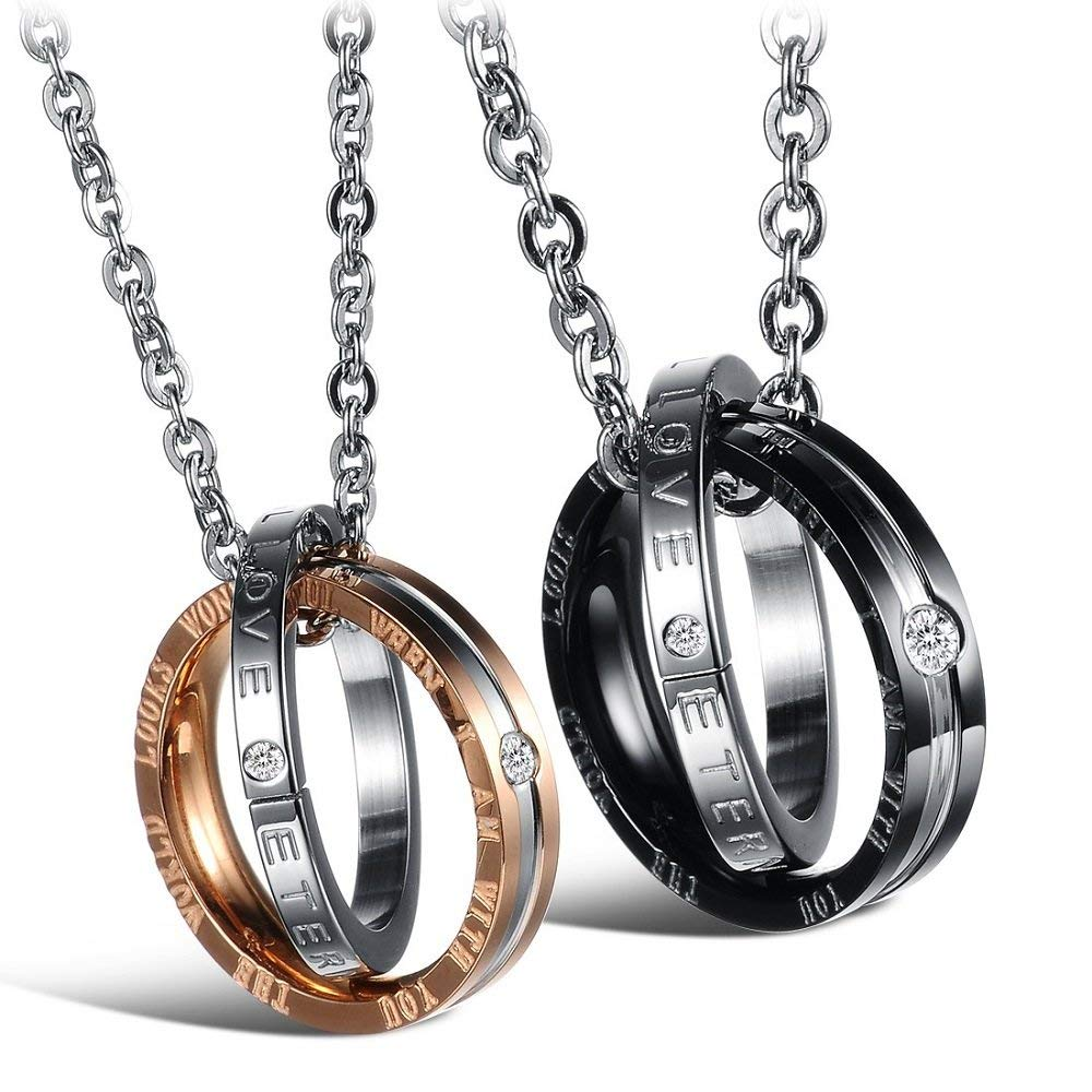b98a850c79 Get Quotations · Couples Pendants Necklaces for Him and Her Stainless Steel  Black Rose Gold Double Rings Matching Set