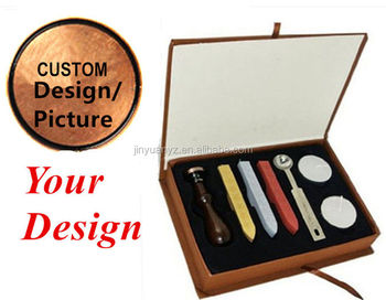 JinYuan factory direct sale Custom Design Retro Vintage Sealing Wax Stamp Set with Rosewood Handle+ 3 wax+1 spoon