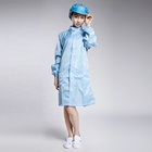 Custom color Blue or green antistatic smock with stand collar/esd garment hot sale/esd clothing for epa