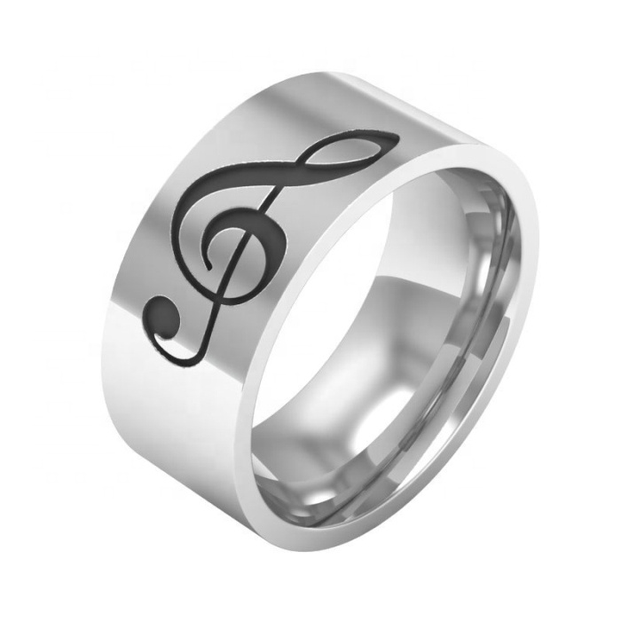Simple style 8mm black laser engrave high polish stainless steel music note rings for men women sale gift фото
