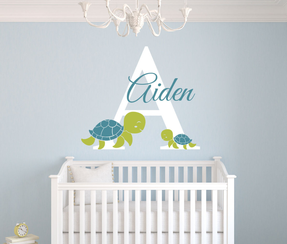 personalized turtles name wall decal art room nursery wall. Black Bedroom Furniture Sets. Home Design Ideas