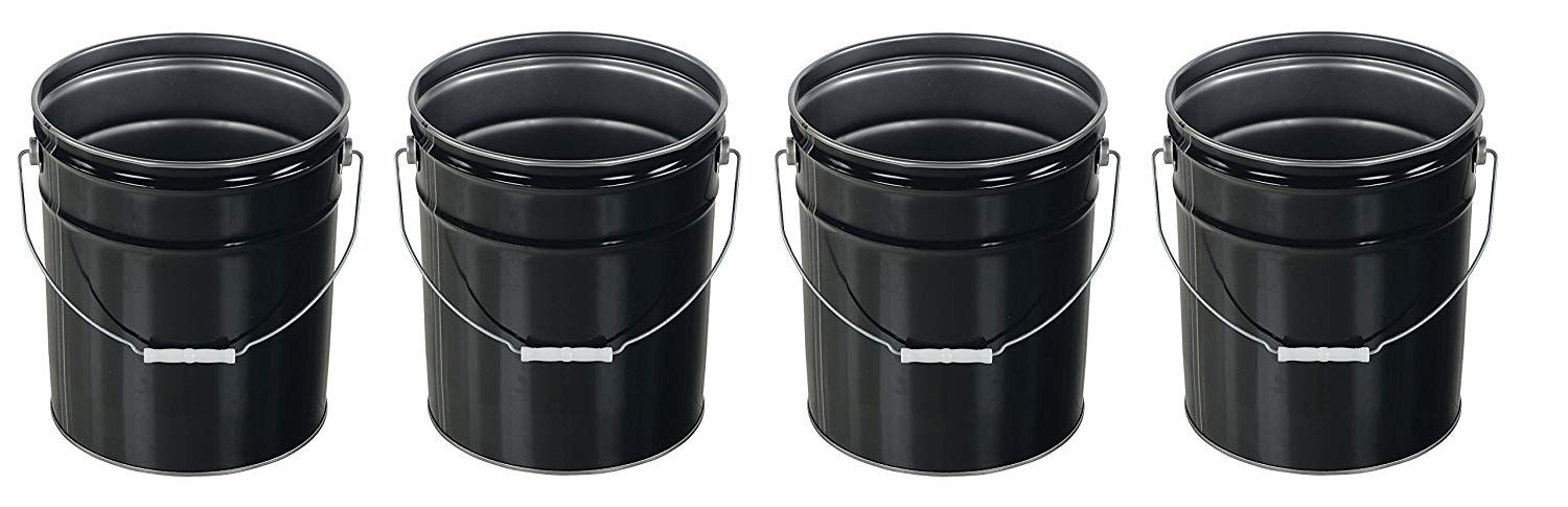 Vestil PAIL-STL-RI Steel Open Head Pail with Handle, 5 gallon Capacity, Black (Pack of 4)