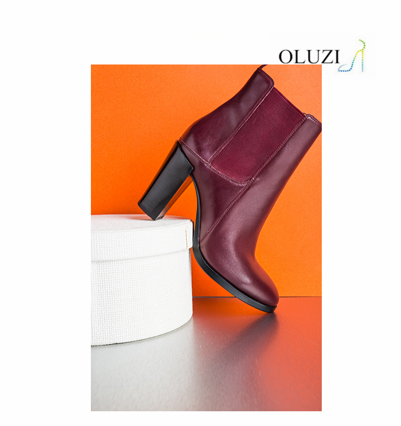 S09 Top Quantity Elegant Genuine Leather Slip-in Ladies Boots Hot-Sale High Heel Women Dress Ankle Boots