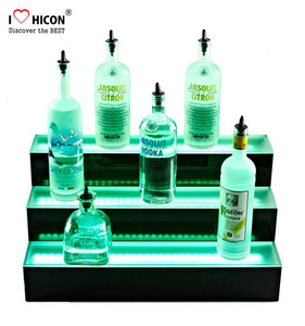 Countertop Free Design Bevrtage Store Acrylic Single LED Lighting Whisky Bottle Stand Display Stands