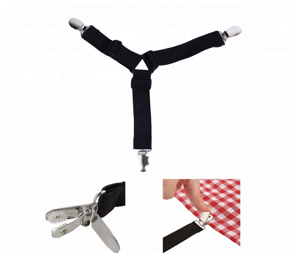4-Pack 3-Way Adjustable Bed Sheet Mattress Fasteners Suspenders Corner Holders Elastic Straps Clips Grippers фото