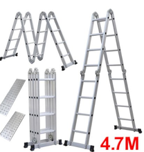 Vouwladder multifunctionele Aluminium Extension 7 in 1 Stap Zware Combinatie aluminium <span class=keywords><strong>ladder</strong></span> 4.7m