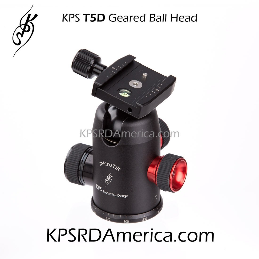 KPS R&D T5D Geared Ball Head with microTilt precision adjustments for Professional Photographers