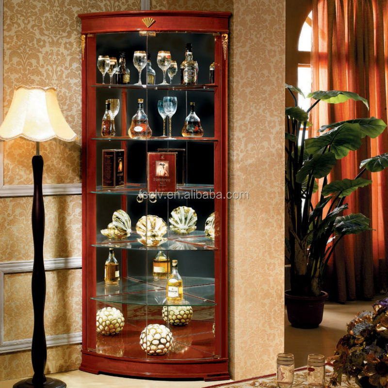 Pooja Vintage glass display wood corner wine cabinet