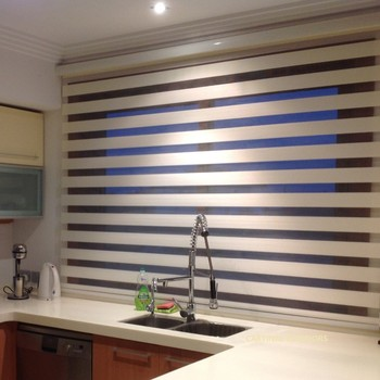 100 Polyester European Style Zebra Blinds Two Layer Roller Fabric