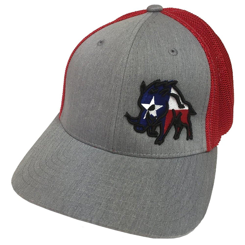 Get Quotations · Sniper Pig Oil Field Hats Brand Texas Pig Heather Grey Red Flexfit  Mesh Hat 8bea80184234