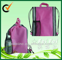 Reusable PP Nonwoven Drawstring School Bag With Mesh Pocket