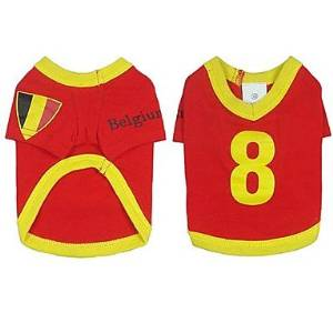BuW Belgium Soccer Jersey 100% Cotton for Pet Dog and Cats (L Size) puppy clothes dog coats and sweaters fashionable dog clothes