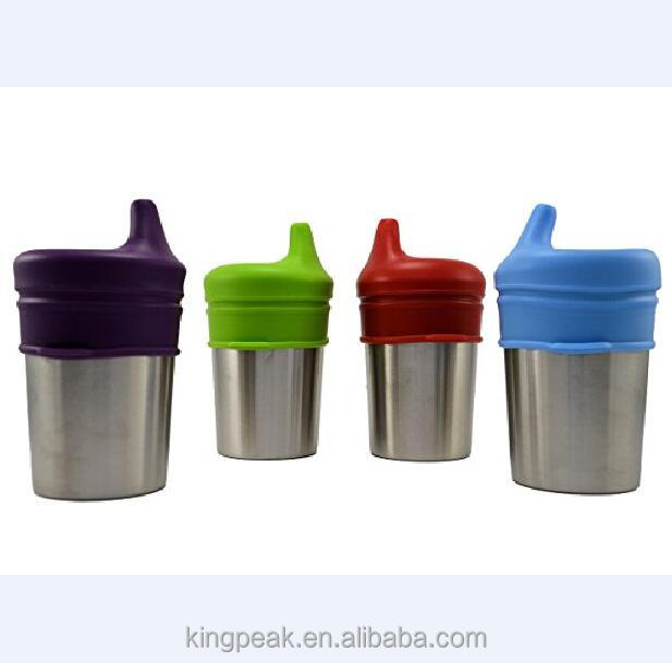 2017 Hot Sale Stainless Steel Sippy cups/Baby drinking cups with Silicone Sippy Lid for babies toddlers and kids/8 ounce cups
