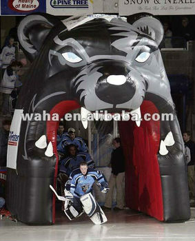 inflatable bear head tunnel for sports