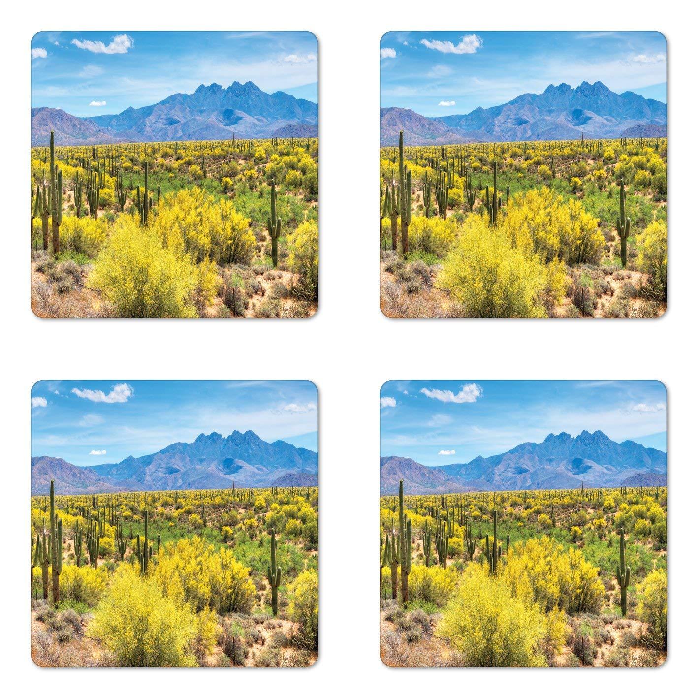 Lunarable Saguaro Coaster Set of Four, Blooming Palo Verdes and Saguaros at Four Peaks Hills Phoenix Arizona, Square Hardboard Gloss Coasters for Drinks, Apple Green Pale Blue