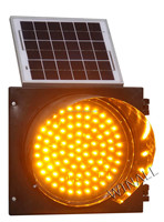 Solar Power Yellow Traffic Warning Singal Flashing Lights