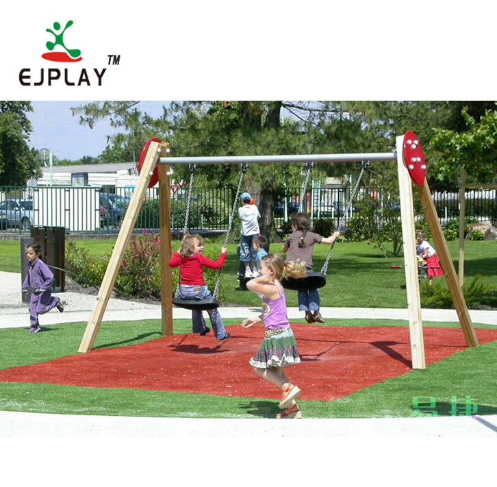 Cheap Hot Sale  Outdoor Wooden Swing Playground Equipment Swing Set For Kids Play