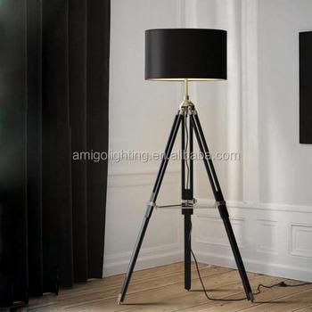 Modern Tripod Wood Lights Bedroom Standard Bedside Lighting 3 Legs Floor Lamps Yf702b Black