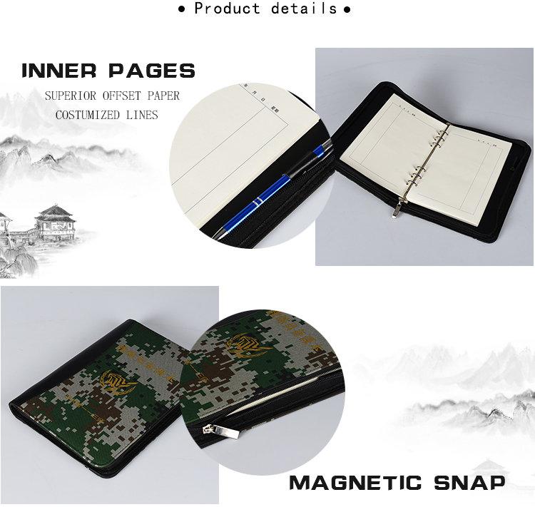 2020 School Supplies And Stationery Camouflage Pattern Easy Writing Diary Notebook with Pen and  Zipper Closure