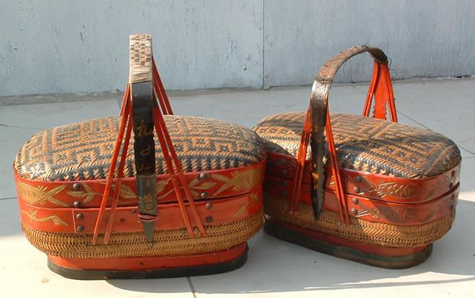 Chinese Antique Furniture-antique Craft Wicker Basket