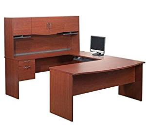 "Bestar U Shaped Computer Desk 88.6""L X 71.1""W X 61.9""H Durable 1"" (25.4Mm) Commercial Grade Work Surface W/Melamine Finish Perfect For Laptop Computer, Desktop Pc/Tablet - Bordeaux"